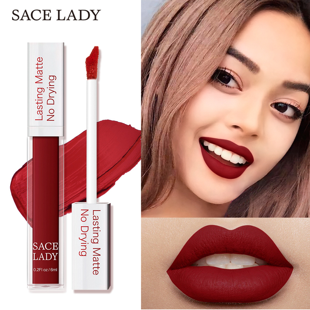 SACE LADY Long Lasting Lipstick Make Up Matte Liquid Lip Stick Non Drying Makeup Nude Red Pigment Waterproof 23 Colors Cosmetic 4