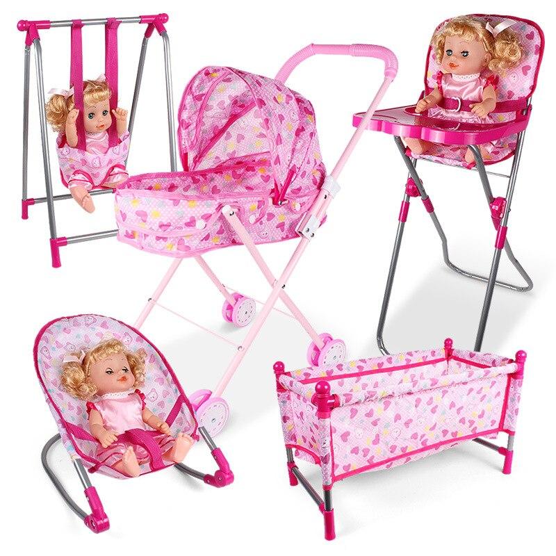 Simulação de móveis de brinquedo casa de boneca acessórios cadeira balanço cama de jantar cadeira do bebê jogar casa fingir brinquedo decoração da sala