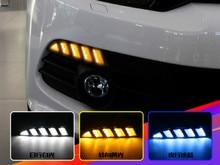 цена на For Volkswagen Scirocco 2011 2012 2013 2014 2015 Yellow Turn Signal Relay Waterproof 12V Car LED DRL Daytime Running Light