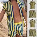 Samlona размера плюс Для мужчин спортивный костюм ropa hombre Для мужчин комплекты с футболками с открытым швом; В полоску комплект из двух предмето...
