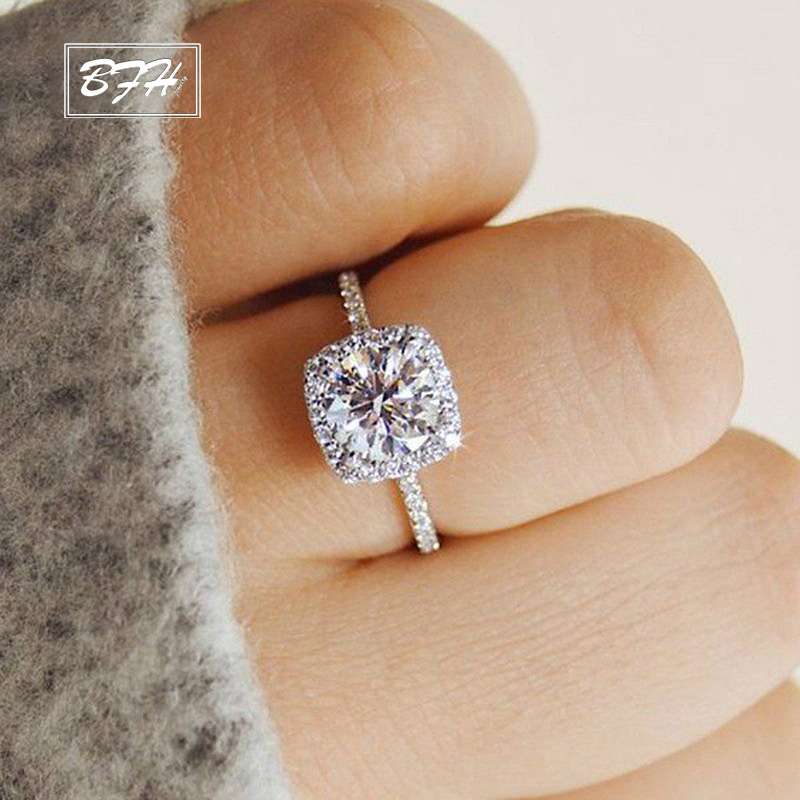 BFH Fashion Wedding Female Romantic Engagement Rings For Women Statement Dainty Silver Finger Ring Jewelry 2019 Double Eleven