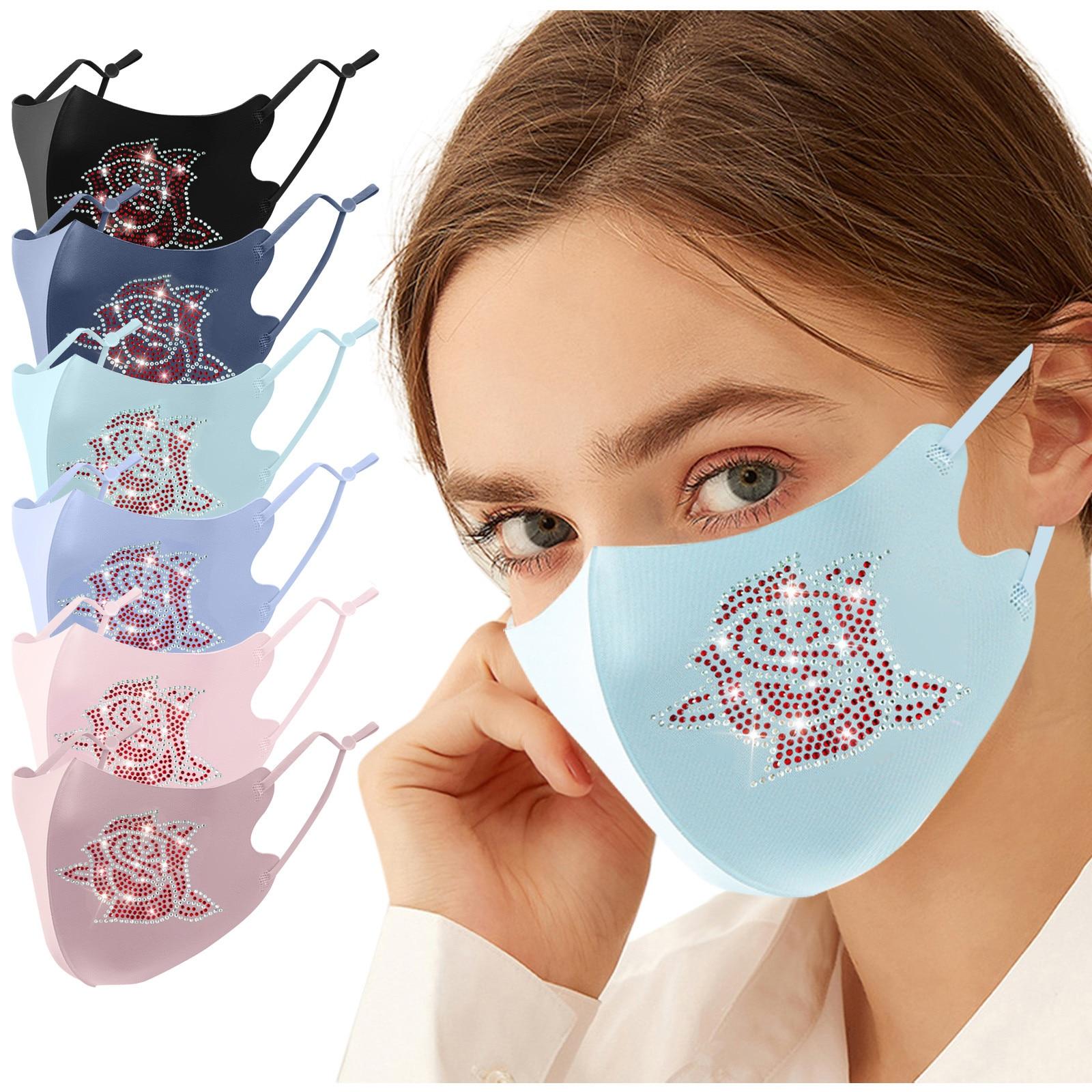 1 шт розовые стразы маска для Для женщин ко Дню Святого Валентина Безопасность защитный рот шапки на открытом воздухе пыле Mascarillas Mascherine Lavabil