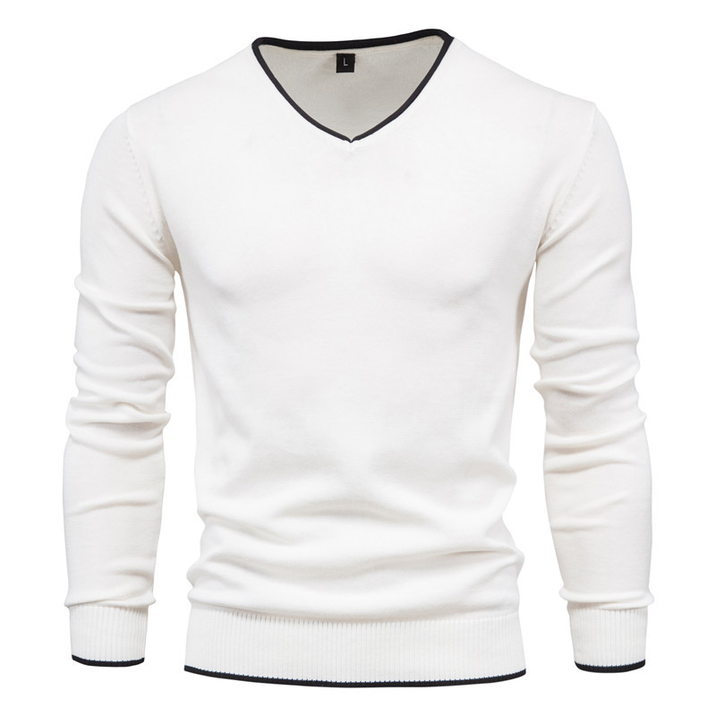 Men's Cotton Autumn Solid Color Long Sleeve Sweater Pullover Youth V-Neck Warm Sweater 3