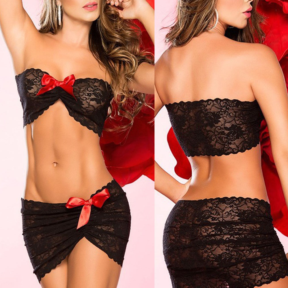 2Pcs Sexy Lingerie Women Lace Bowknot Red Black Stretch Mini Dress Lingerie Sexy Hot Erotic Nightwear Babydoll Sexy Underwear