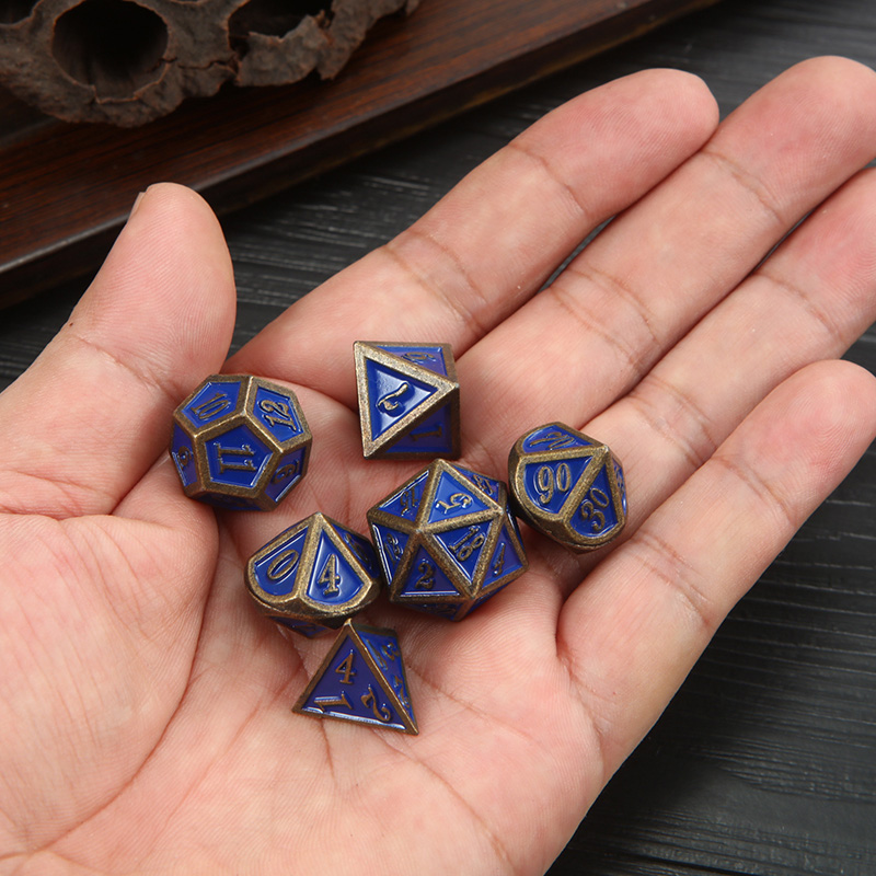 7 Pcs/set Polyhedral Dice Blue Bronze Metal Funny Dice Standard Board Game Acessorios