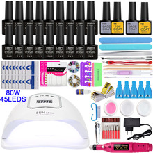 Nagel Kit80 54/24W UV Lampe 18 Farbe Soak Off Gel Nagel Top Mantel Gel Nagellack Kit maniküre Set Elektrische Maniküre Griff kit