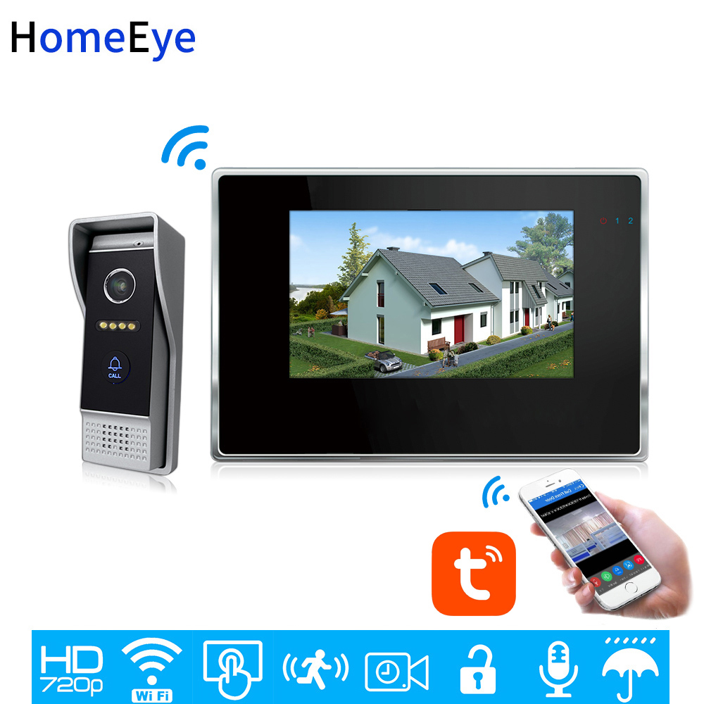 TuyaSmart App Supported WiFi IP Video Door Phone Video Intercom Home Access Control System Motion Detection 7inch Touch Screen