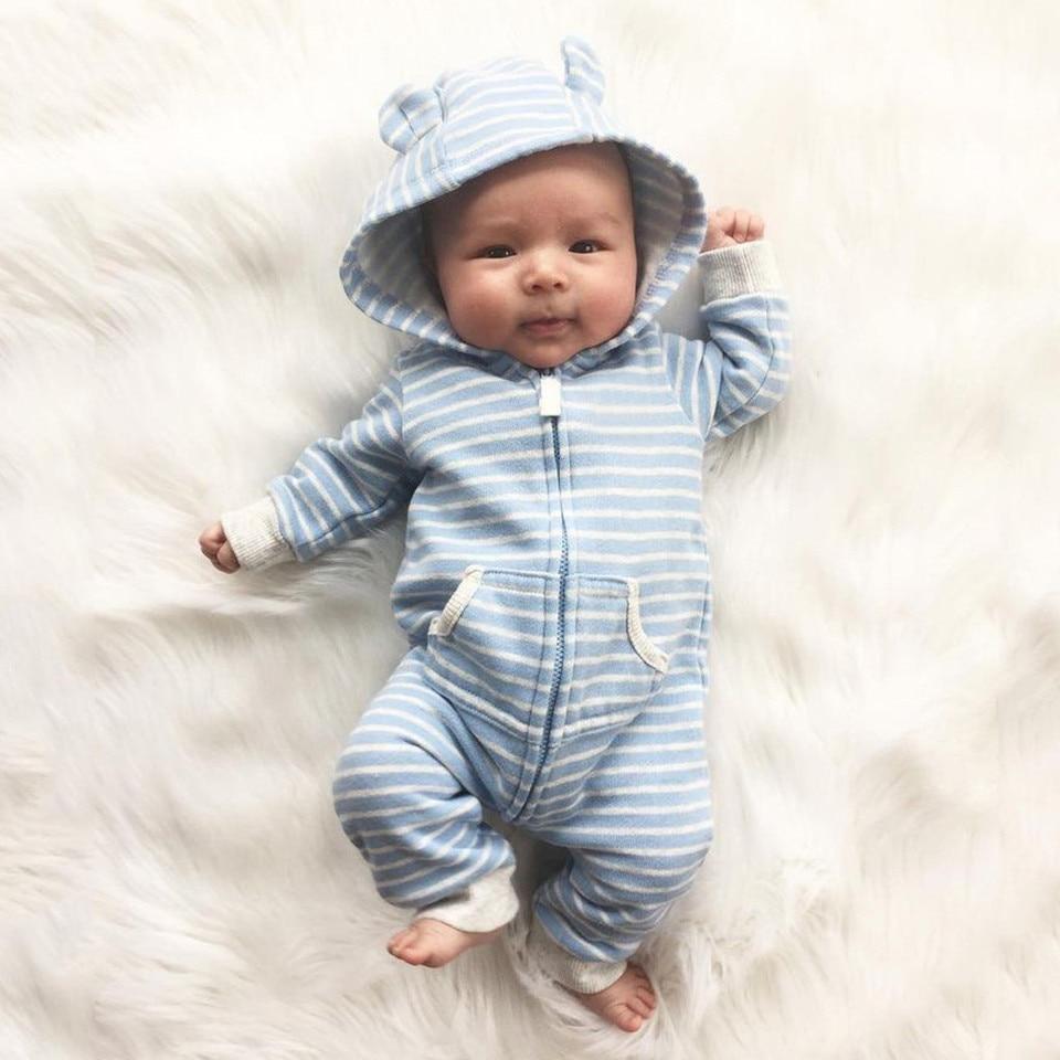 New Born Unisex Baby Girl Clothes Cute Striped Print Hooded Newborn Baby Boy Romper Baby Winter Boy Jumpsuit Onesie Rompers Aliexpress