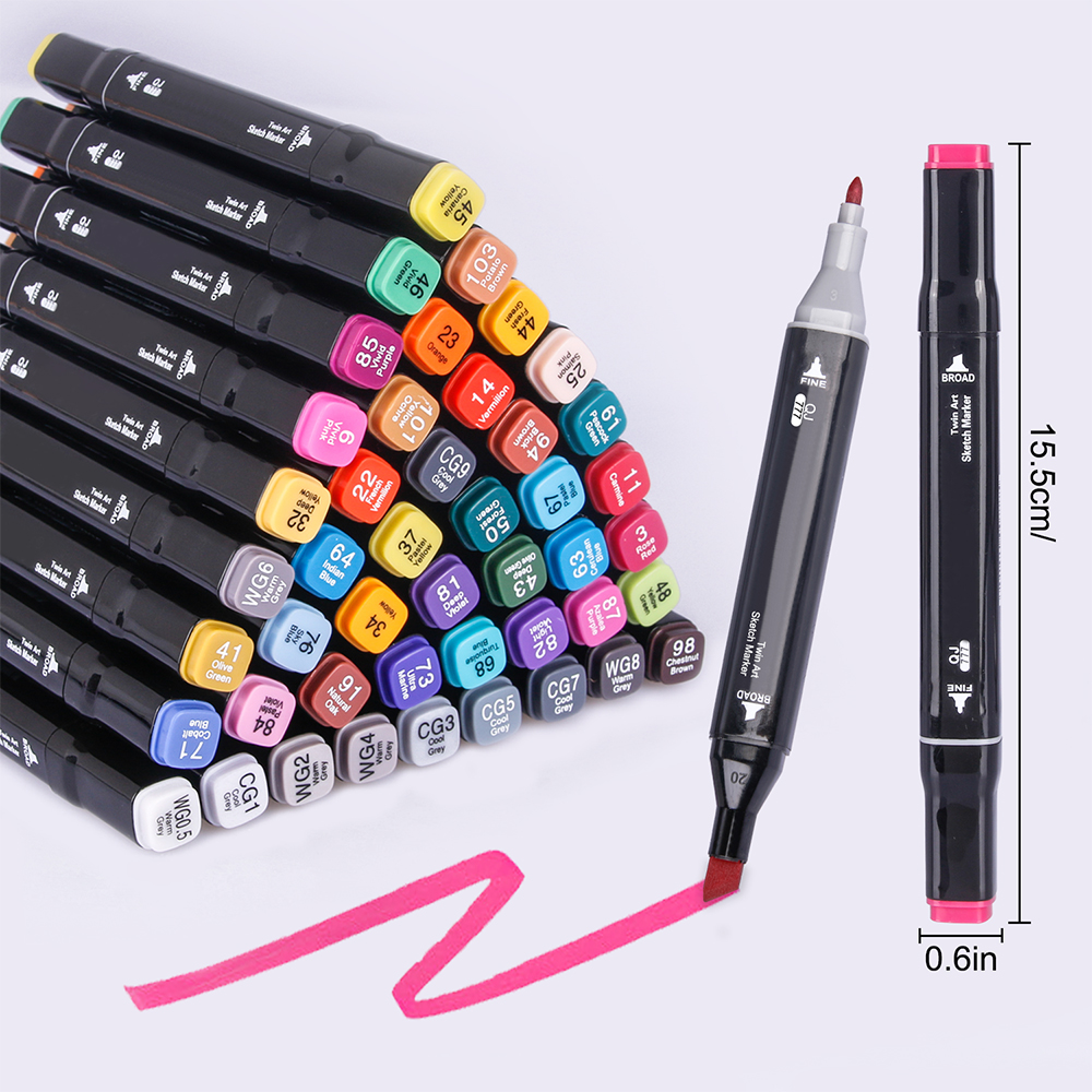 48 Colors/Set Art Markers Set Brush With Dual Tips Alcohol Based Brush Markers Or Sketching, Calligraphy, Drawing Etc