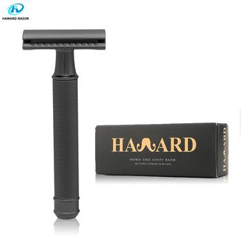 HAWARD Safety Razor męska podwójna maszynka do golenia klasyczna ręczna maszynka do golenia głowica z lekkiego stopu metalowa maszynka do golenia i usuwania włosów 10 ostrzy tanie i dobre opinie HAWARDRAZOR Mężczyzna Brak Zinc alloy + Brass Razor 9 7*4 2*2 5cm(approx) Bikini BODY Face Pod pachami D644-Black Safety razor Manual razor