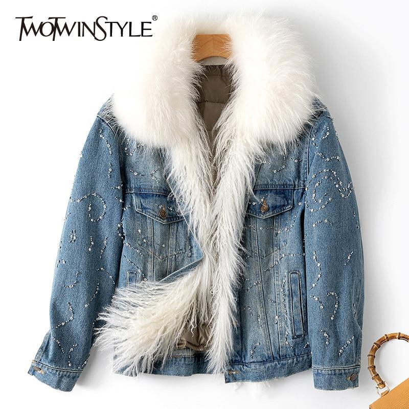 TWOTWINSTYLE Patchwork Diamond Denim Jacket For Women Fur Lapel Collar Long Sleeve Pocket Jackets Female Spring Fashion New 2020