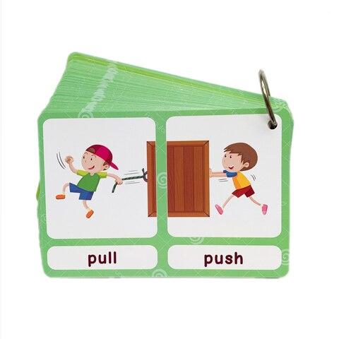 100 grupos opostos flashcards ingles cartoes de vocabulario montessori aprendizagem brinquedos educativos para criancas jogo