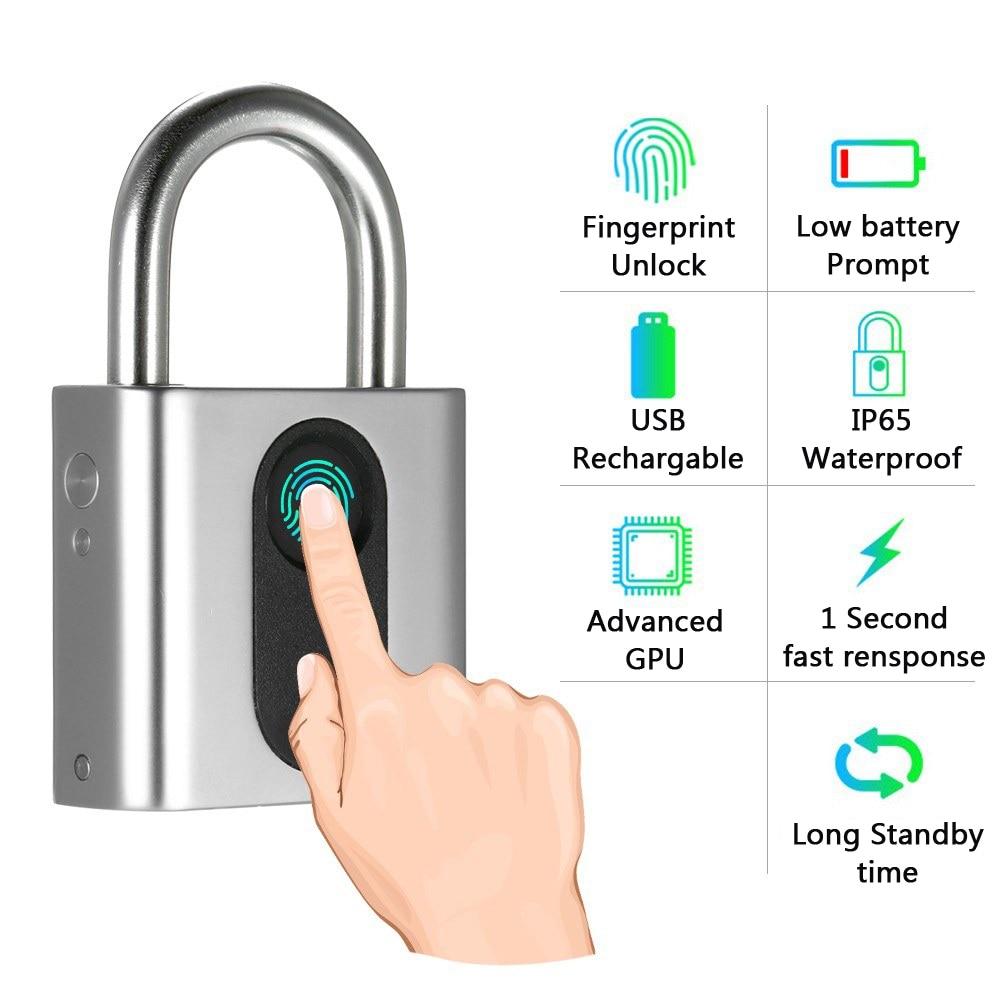 Keyless Smart Fingerprint Pad Lock with USB Charging for Smart Security of Cabinet or Door 4