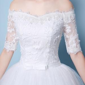 Image 5 - Bán Áo Cưới Mới Xuất Hiện Appliques Đầm Ren Tay Lửng Gợi Cảm Bont Cổ Lệch Vai Váy Đầm Vestido De Noiva
