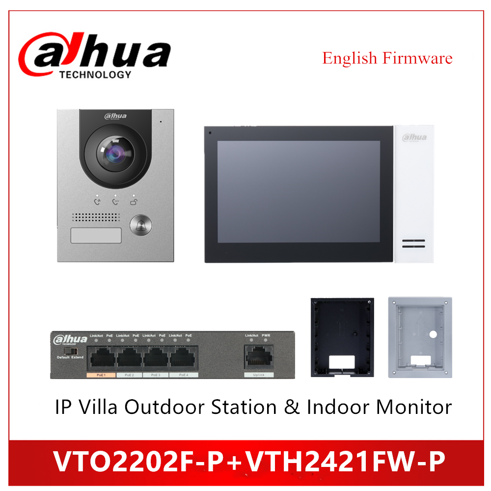 Dahua VTO2202F-P VTH2421FW-P IP Villa Outdoor Station Indoor Monitor IP Kit Doorbell Support POE Video Doorbell Accessory