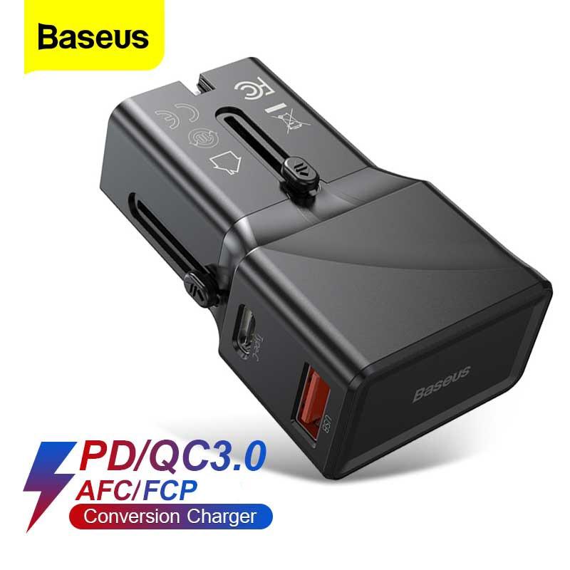 Cargador USB Baseus EU/US/UK 3 en 1 cargador Universal 18w carga rápida para iPhone 11 SE cargador de pared para Samsung S20 Plus Xiaomi