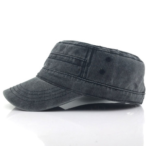 Image 3 - Classic Vintage Flat Top Mens Washed Caps Hat Adjustable Fitted Thicker Cap Military Hats For Men Casquette gorra hombre