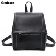 Gradosoo Backpack Women Leather Brand Designer  Travel Female Shoulder Bag For School Fashion LBF621