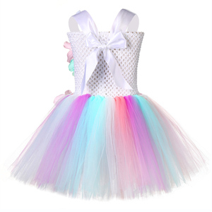 Image 5 - Милое праздничное платье для девочек с цветочным рисунком и единорогом Детские костюмы единорогов на Хэллоуин для девочек 1 год, платье для дня рождения с повязкой на голову с единорогом