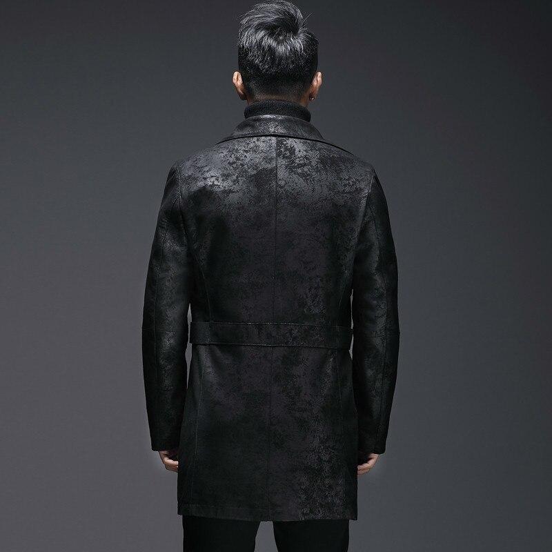 2020 Autumn Real Genuine Leather Jacket Men Long 100% Sheepskin Coat Korean Vintage Men's Leather Jackets L18-4701
