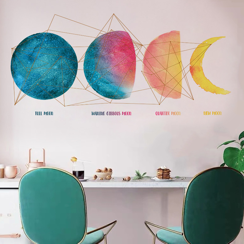 Colorful Moon Rise Change Wall Stickers TV Sofa Background Home Decor Children's Room Bedroom Decoration Poster Self-Adhesive