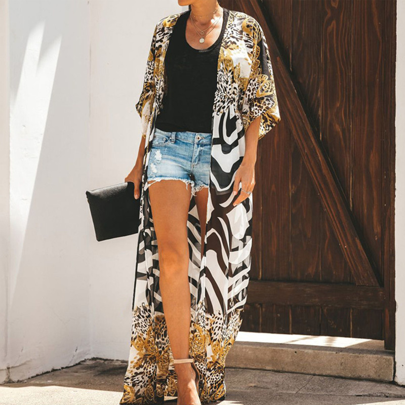 Chiffon Leopard Bohemian Women Beach Blouse Summer Sexy Drawstring Zebra Female Long Cardigan 2020 Summer Fashion Lady Beachwear