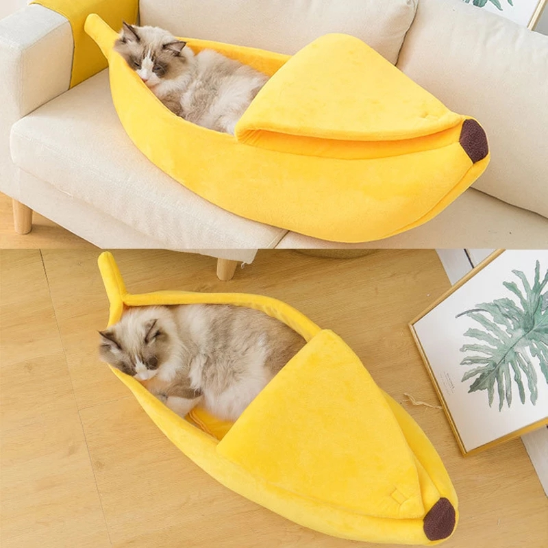 Cat Bed Dog Cute Banana Shape House Pet Mat Portable Cushion Durable Closed Funny Kennel Creativity Supplies
