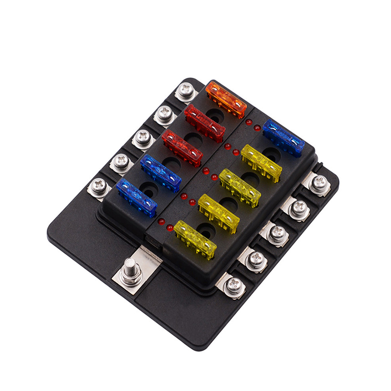 Screw Binding Post 6/8/10 Ways Blade Fuse Box Holder Blocks 12V 24V with LED Indicator Light for Car Boat Auto Replacement Parts
