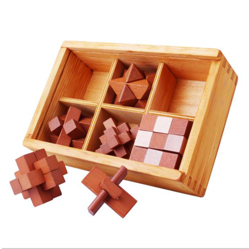 IQ Brain Teaser Kong Ming Lock Wooden nterlocking Burr Puzzles Game Toy for Children Wooden Puzzles Game Toy