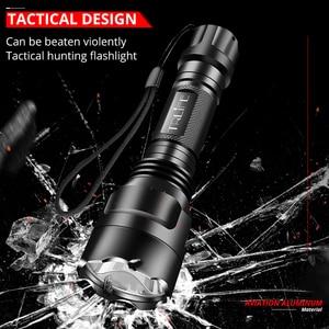 Image 4 - Linterna LED C8 de 4000LM, foco táctico T6 L2 18650, luz de caza de aluminio, superluces de lanzamiento largo, 5 modos para Rifle