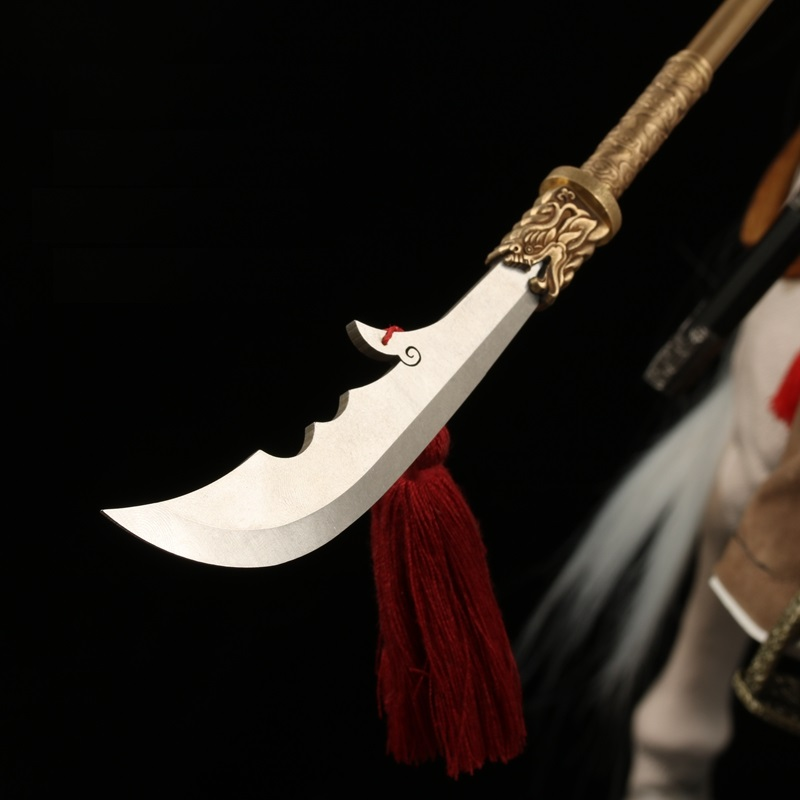 1:6 Handmade Guan Dao 440C Steel HRC57 Guan Yu Green Dragon Crescent Blade Miniature Weapons