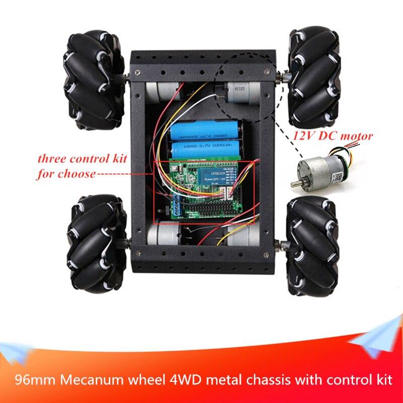 Avec Kit de commande 96mm roue Mecanum 4x4, panneau métallique noir, châssis de voiture, bricolage, plate-forme de Robot Mobile intelligent, jouets RC voiture pour Arduino