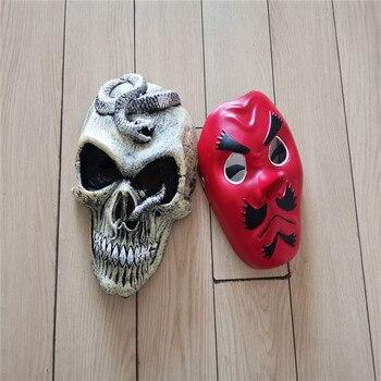 2 Style Demon Slayer: Kimetsu no Yaiba Urokodaki Sakonji Mask Cosplay Scary Skeleton Snake Mask Halloween Party Mask 2pcs/set scary halloween adult cave demon mask the faun skull skeleton mask