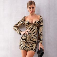 فستان سيدات لامع جديد لخريف 2019 فساتين المشاهير بأكمام طويلة ورقبة على شكل v مطرزة مثير للحفلات المسائية والحفلات المسائية Vestidos