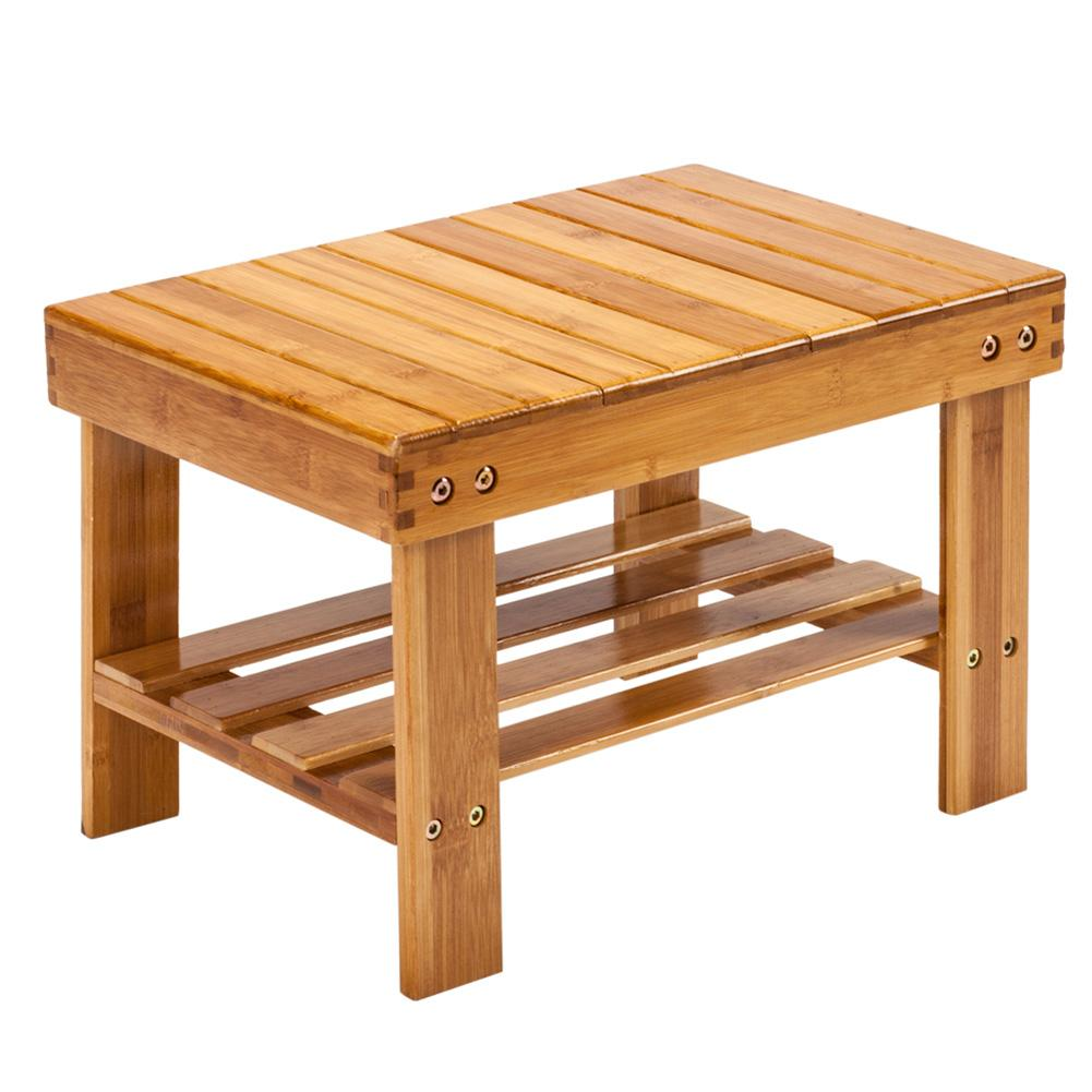 Children Bench Stool Bamboo Wood Color Living Room Office Footrest Bathroom Bench