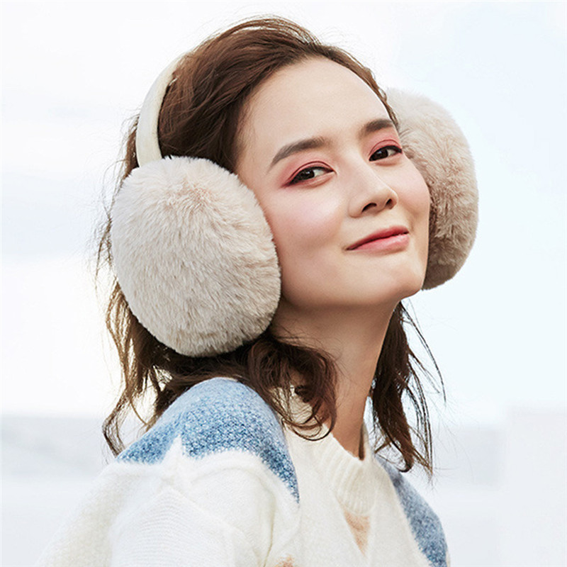 Women Foldable Winter Earmuffs Winter Kawaii Hamburger Ear Warmer Plush Headgear Outdoor Foldable Ear Cover Warm Earphones CD