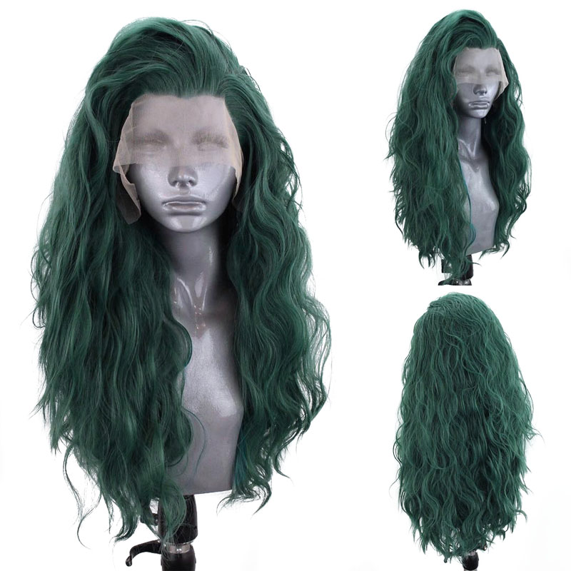 Websterwigs Dark Green Long Body Wave Synthetic Lace Front Wigs for Women HandTied Wig Glueless Heat Resistant Fiber Cosplay
