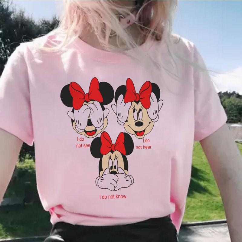 Three Cute Mouse Ears Cute Print Women's T-shirts 2020 Vogue Female T-shirt Fun Short Sleeve Tshirts Girls Gift Summer Tops Tees(China)