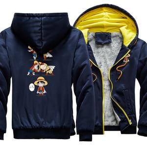 Мужская повседневная куртка с капюшоном в стиле хип-хоп, теплая уличная куртка на молнии с мультипликационным принтом «Луффи», зима 2020
