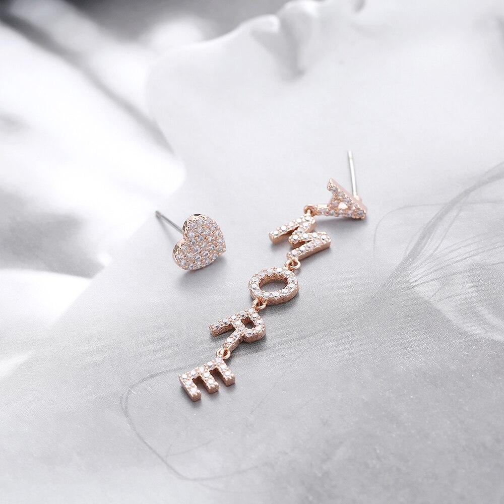 Hot Asymmetry Cubic Zircon Heart AMORE Letter Drop Earrings For Women Words Italy Love Dangle Earrings 2020 New Trendy Jewelry