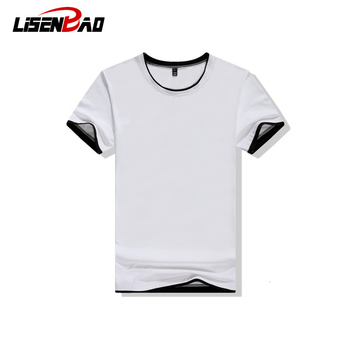 2019 new double round cotton casual mens neck T-shirt fashion shirt short-sleeved 1015