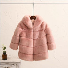 girls fur coat 2019 Children's Faux Fur Coat Imitation Rabbit Hair Girls Thick Clothing Baby Autumn Winter Hooded Overcoat QV312(China)