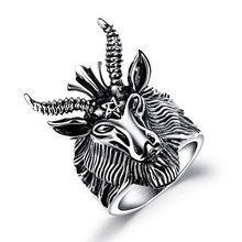 Domineering and Exaggerating Hip-hop Ox Head Ring Retro Titanium Steel Sheep Head Punk Locomotive Party Ring 8-11 Size