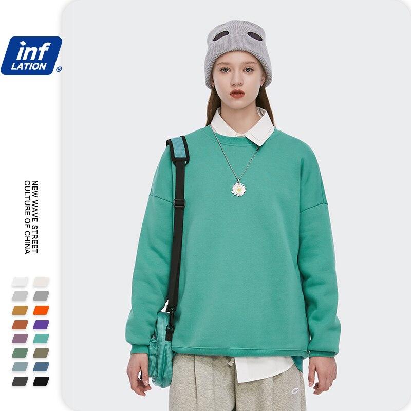 INFLATION Winter Mens Hip Hop Multi-colour Hoodies Velvet Fabrics Fleece Sweatshirts 8 Solid Color Winter Men Sweatshirts 166W17 20