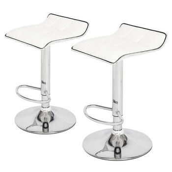 2 x Bar Chairs Soft-Packed Square Board Curved Foot Bar Stools Pu Fabric White свитшот print bar square