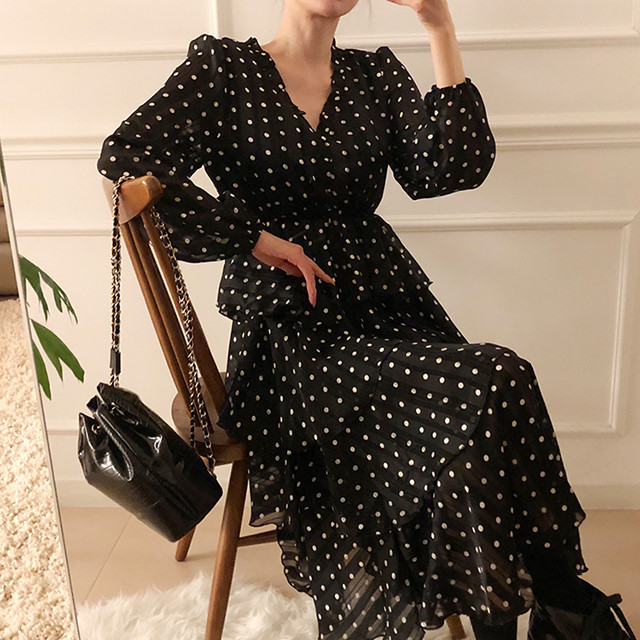 H86eee2f88ee14ce08ecd26168cc426edM - Autumn V-Neck Long Sleeves Satin Polka Dots Multi-Layers Midi Dress
