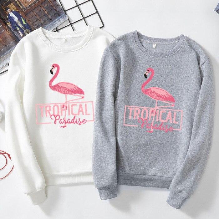 Spring Autumn Shirts Animal Bird Tropical Flamingo Shirt Plus Velvet Loose Long Sleeve Clothes Female Women T-shirt Streetwear
