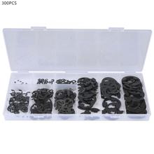 300 Pcs  Carbon Steel E-Retaining Circlip Set Snap Ring Kit Assortment Stainless Washer