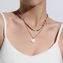 Модное ожерелье с цветными шариками из риса кулон в виде сердечка