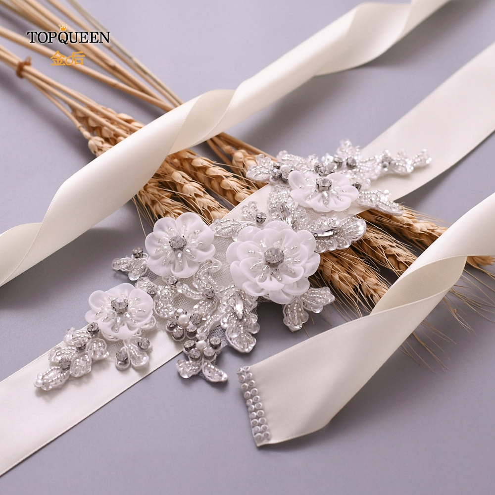 TOPQUEEN  Crystal Sashes For Wedding Wedding Bridal Belt Beaded Sash Belt Flower Dress Belts For Women Small Wedding Belt  S358